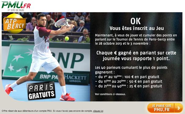 pmu tennis atp paris gratuits
