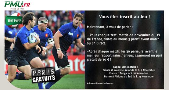Rugby: PMU 2700€ paris gratuits
