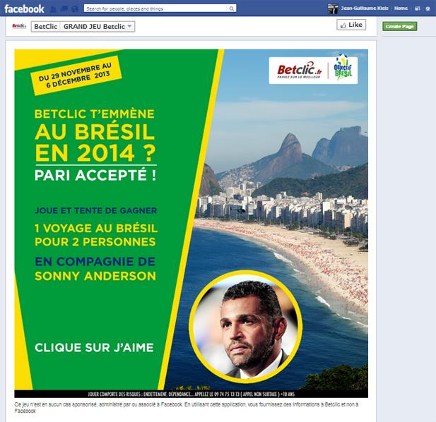 Facebook BetClic Brésil