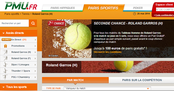 PMU : Seconde Chance sur Roland Garros