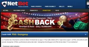 Cashback Netbet : Trophée des Champions 2014