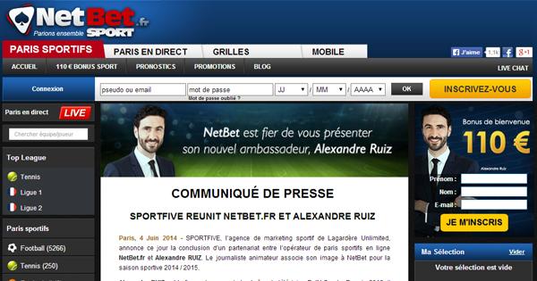 Alexandre Ruiz chez Netbet