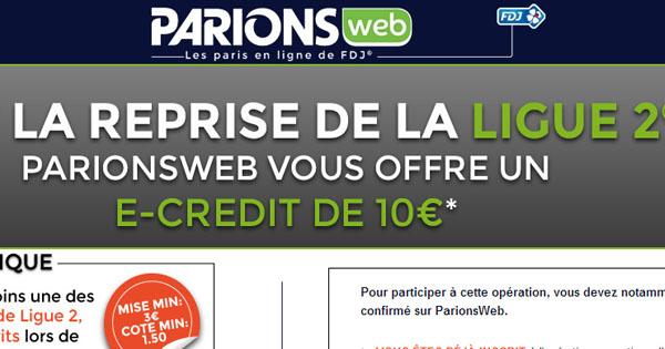 ParionsWeb : reprise Ligue 2