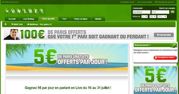 Unibet offre 5 euros par jour cet été
