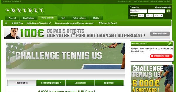 Challenge tennis : US Open par Unibet