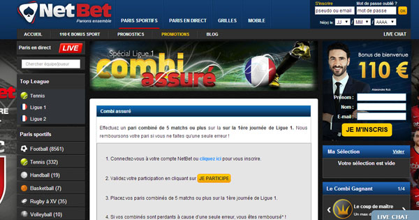 Netbet : Combi Assuré Ligue 1 et Premier League