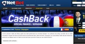 Netbet Cash Back pour France Espagne