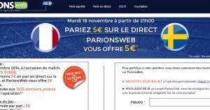 ParionsWeb : 5€ de bonus sur France Suède