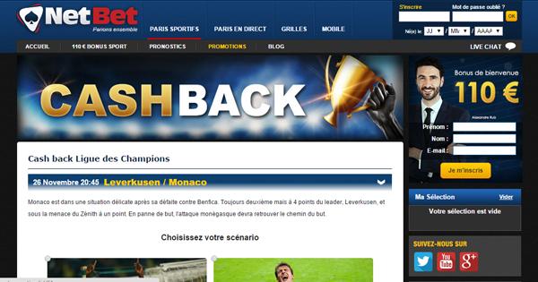 Netbet : Bonus Ligue des Champions