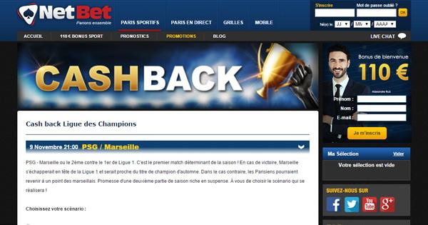 Netbet : Cash back sur PSG OM