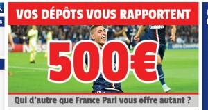 France Pari offre 500 euros de bonus