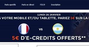 5€ de bonus sur France Argentine
