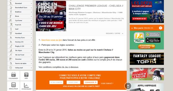 PMU : Challenge Chelsea - Manchester City
