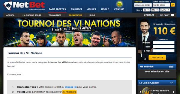 Netbet offre un bonus sur le vainqueur des VI Nations