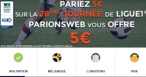 ParionsWeb offre 5€ de bonus