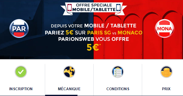 Bonus pour PSG Monaco chez ParionsWeb
