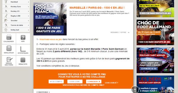 PMU offre un bonus sur Marseille PSG