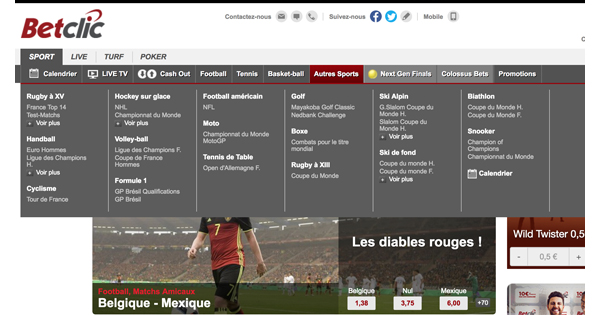 Choix paris sportifs Betclic