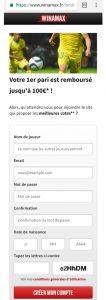 Inscription mobile Winamax